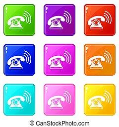 9, téléphone, ensemble, retro
