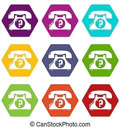 9, téléphone, ensemble, retro, icônes