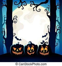 9, tema, dia das bruxas, floresta, imagem
