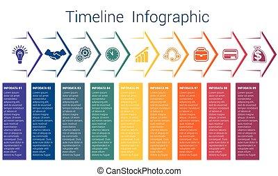 9, timeline, infographic, flechas, color