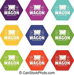 9, vagão, jogo, vetorial, ícones