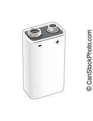 9 volt nickel, alkaline or lithium battery. Isolated vector...