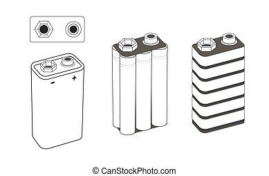 9 volt nickel, alkaline or lithium battery scheme. Battery...