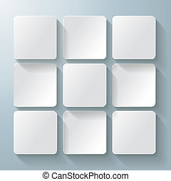 Infographic design with white rectangle squares on the grey background. Eps 10 vector file.