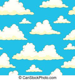 9, wolkenhimmel, seamless, hintergrund