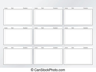 9, x, escarneça, storyboard, modelo