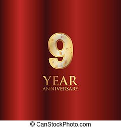 9 Year Anniversary Gold With Red Background Vector Template Design Illustration