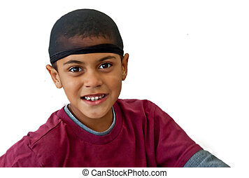 9 Year Old Bi-racial Boy Wearing Hair Net Isolated on White...