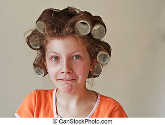 9 Year Old Girl's Hair in Curlers Humor Emotion