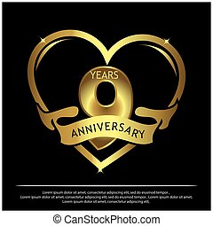 9 years anniversary golden. anniversary template design for web, game ,Creative poster, booklet, leaflet, flyer, magazine, invitation card - Vector
