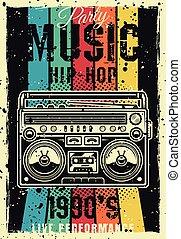 90ą, barwny, afisz, boombox, wektor, retro, partia