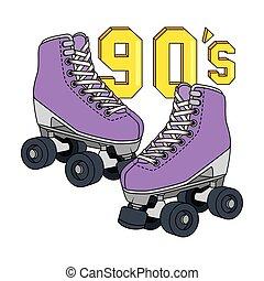 90代, レトロ, アイコン, スケート, 隔離された, ローラー