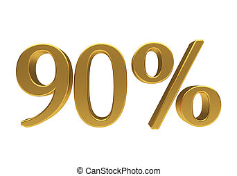 90, процент, isolated, 3d