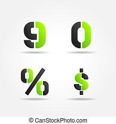 90 3d green stencil numbers