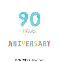 90, anos, cartão aniversário, celebração