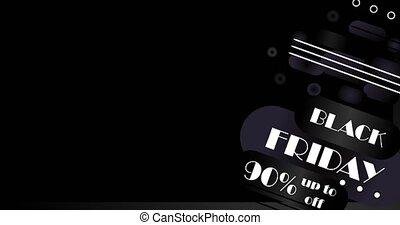 90 Black Friday Animation Banner. Transparent background