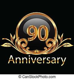 90, cumpleaños, aniversario, feliz