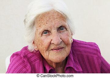 90, gammalt år, kvinna