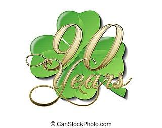 90, Jahre, Kleeblatt, Jahrestag - 90, jahre, kleeblatt,...