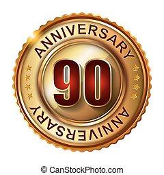 90, jaren, jubileum, label., gouden