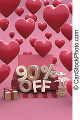 90 ninety percent off - Valentines Day Sale 3D illustration. Vertical banner with copy space.