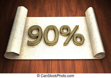 90 per cent, golden numbers, over open paper, 3d rendering