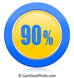 90 percent blue yellow icon sale sign