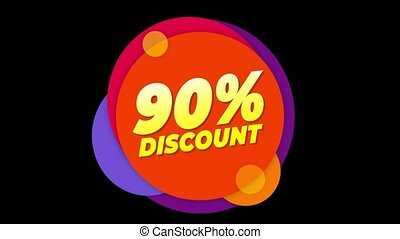 90 % Percent Discount Text Flat Sticker Colorful Popup...