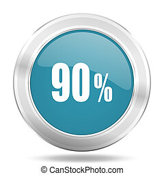 90 percent icon, blue round glossy metallic button, web and mobile app design illustration