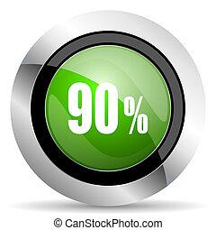 90 percent icon, green button, sale sign