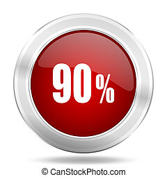 90 percent icon, red round glossy metallic button, web and mobile app design illustration