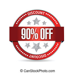 90 percent off seal illustration design