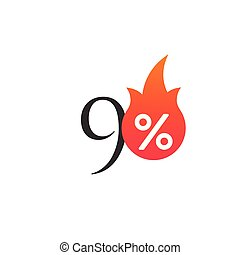 90 percent off with the flame, burning sticker, label or icon. Hot Sale flame and percent sign label, sticker. special offer, big sale, discount percent off. Vector illustration isolated on white background