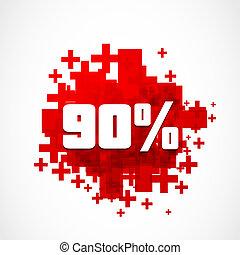 90, promozione, percento, scontare