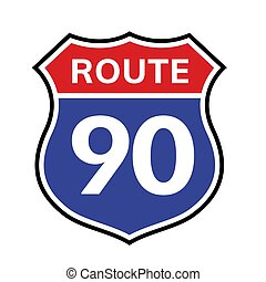90 route sign icon. Vector road 90 highway interstate american freeway us california route symbol.