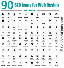 90, seo, icone, per, disegno web, nero, v