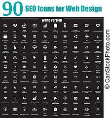 90, seo, iconos, para, diseño telaraña, blanco, v