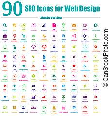90, seo, iconos, para, diseño telaraña, simple