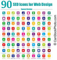 90 SEO Icons For Web Design Square