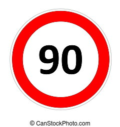90 speed limit sign - 90 speed limitation road sign in white...