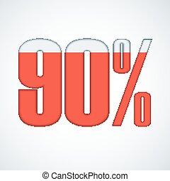 90, vettore, percento, illustration.