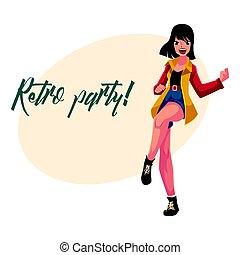 90, vrouw, poster, disco, uitnodiging, retro, partij kleren