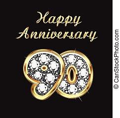 90 years anniversary birthday in gold and diamonds