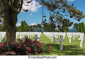 Graves at the American cemetery in Normandy, France