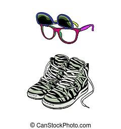 90s, サングラス, 個人的, 項目, -, 高く, スニーカー, 取り外し可能, レンズ
