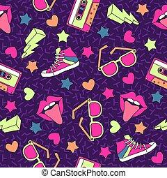 90s, ステレオ, 媒体, device., 型, pattern., seamless, 手ざわり, ディスコ, レコード, ベクトル, 音楽, カセット, パーティー, 80s, レトロ, 背景, カセット