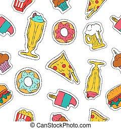 90s, alimento, padrão, seamless, rapidamente, remendo, retro, ícone