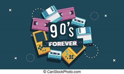90s forever lettering with cassettes and video games in memphis retro style background ,4k video animated