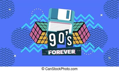 90s forever lettering with floppy and Rubik Cubes in memphis retro style background