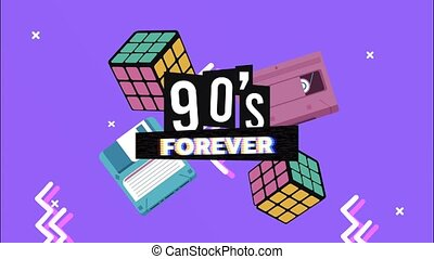 90s forever lettering with Rubik Cubes and floppy in memphis retro style background